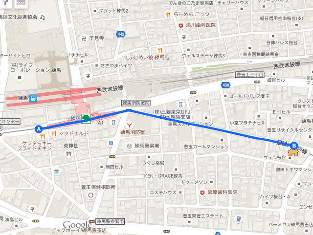 練馬駅からのルート